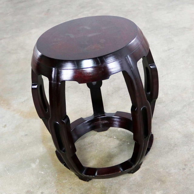 Vintage Asian Rosewood Garden Stool or Barrel Drum Table With Brass Inlaid Design For Sale - Image 4 of 13