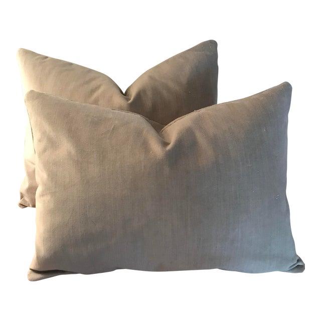 Velvet Lumbar Pillows - a Pair - Image 1 of 6
