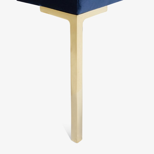 """Not Yet Made - Made To Order Astor 60"""" Brass Bench in Navy Velvet by Montage For Sale - Image 5 of 7"""