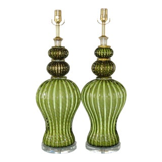 Vintage Murano Glass Table Lamps Green Gold