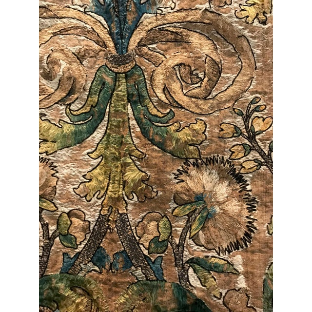 Textile Needlework Tapestry With Intricate Shield and Floral Designs For Sale - Image 7 of 13