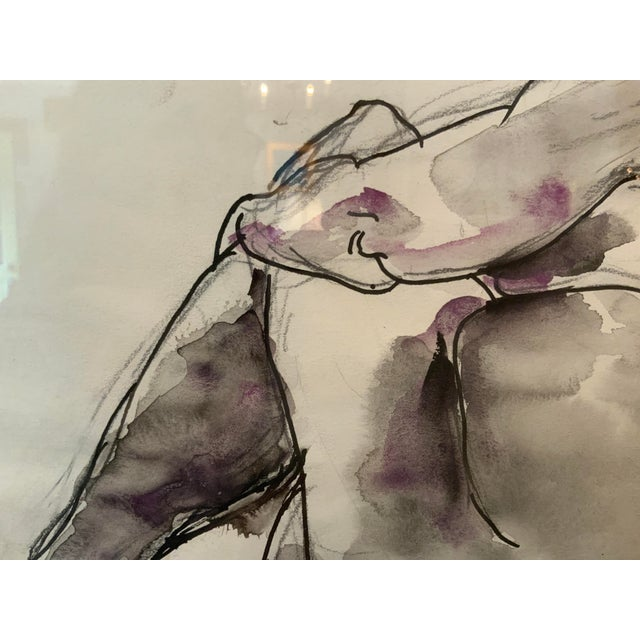 Impressionistic Figure Watercolor Painting For Sale - Image 4 of 6
