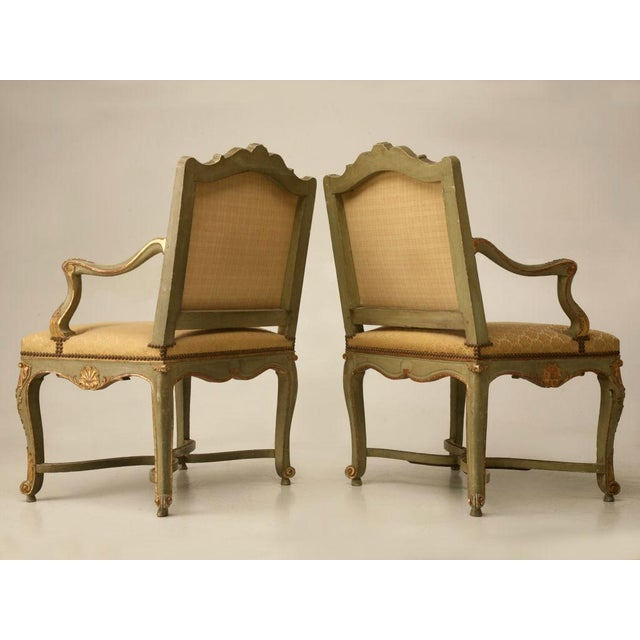 100% Original Antique Italian Painted Louis XV Armchairs - A Pair For Sale - Image 11 of 11