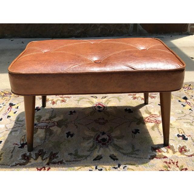 Mid-Century Brown Naugahyde Hassock Footstool - Image 3 of 11