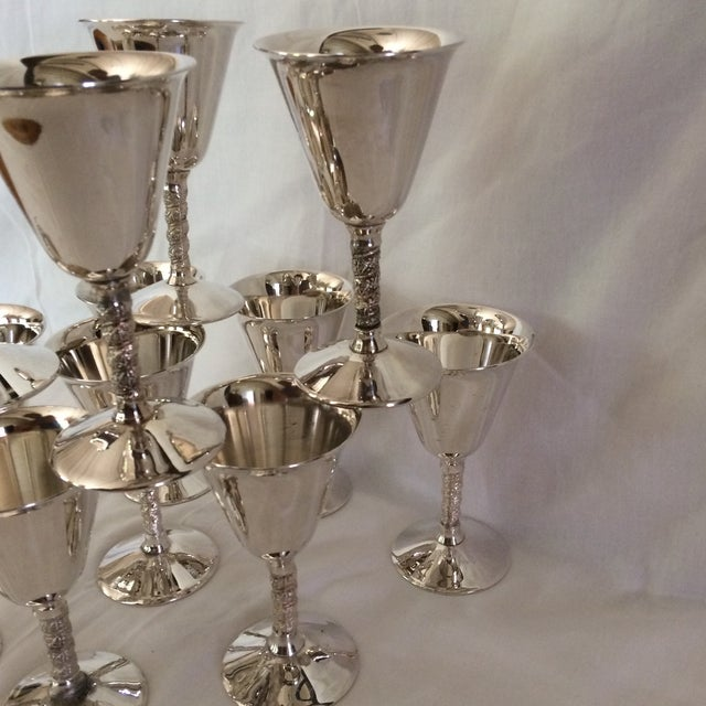 12 Vintage Silver Plated Rogers Rope Twist Wine Goblet made in Yugoslavia - Image 9 of 11