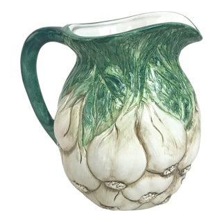 Italian Ceramic Majolica Garlic Pitcher For Sale