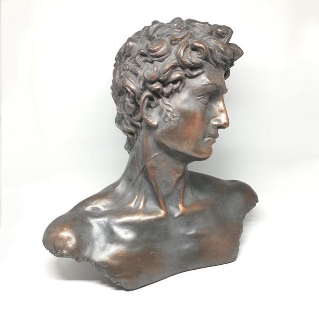 Vintage Neoclassical Roman Plaster Male Bust of David For Sale In New York - Image 6 of 6