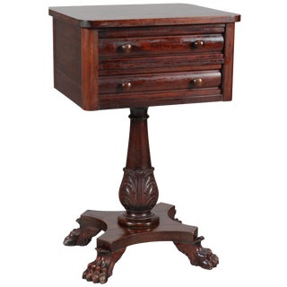 Antique American Empire Acanthus Carved Mahogany 2-Drawer Side Stand, Circa 1870 For Sale