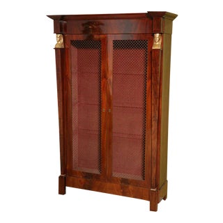 French Empire Mahogany and Giltwood Biblioteque For Sale