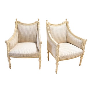 Louis XVI Whitewashed Draped-Back Bergère Chairs - a Pair For Sale