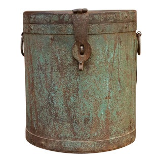 Indian Sage Green Metal Grain Drum Container For Sale