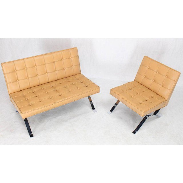 Mid-Century Modern Tufted Upholstery Chrome Base Settee Loveseat and Chair Set - 2 Pieces For Sale - Image 6 of 11