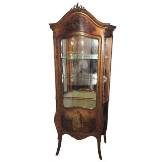 French Vitrine Cabinet, Painted Scene of Lovers, Ormolu, Circa 1910 For Sale