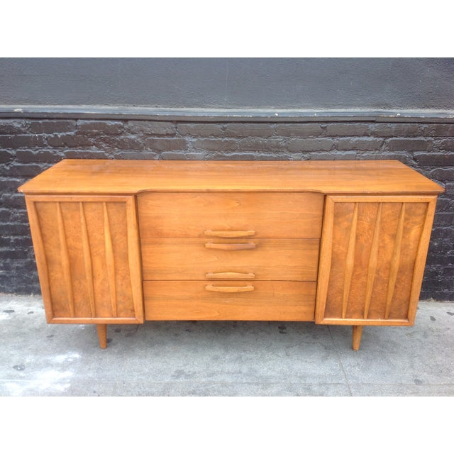 3-Drawer Bird's Eye Maple Credenza For Sale - Image 7 of 7