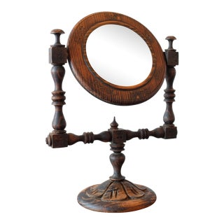Antique Hand Carved Wooden Table Mirror