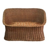 Image of 1970s Wicker Tub Settee Natural Rattan Love Seat For Sale