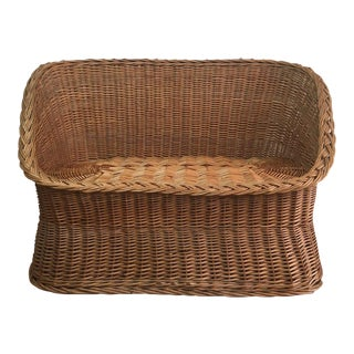 1970s Wicker Tub Settee Natural Rattan Love Seat For Sale