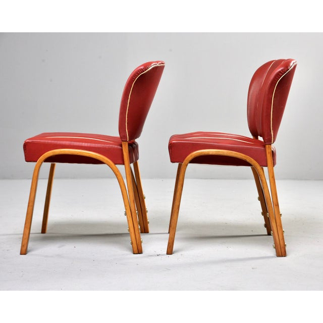 Italian Mid Century Bentwood Dining Chairs With Original Red Vinyl Upholstery - Set of 6 For Sale - Image 4 of 13