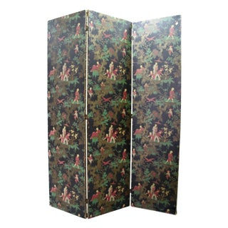 Antique Chinoiserie Folding Floor Screen For Sale