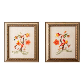 Vintage Framed Crewel Birds, Floral, Needlepoint, Wall Hanging, Art, Chinoiserie - a Pair For Sale