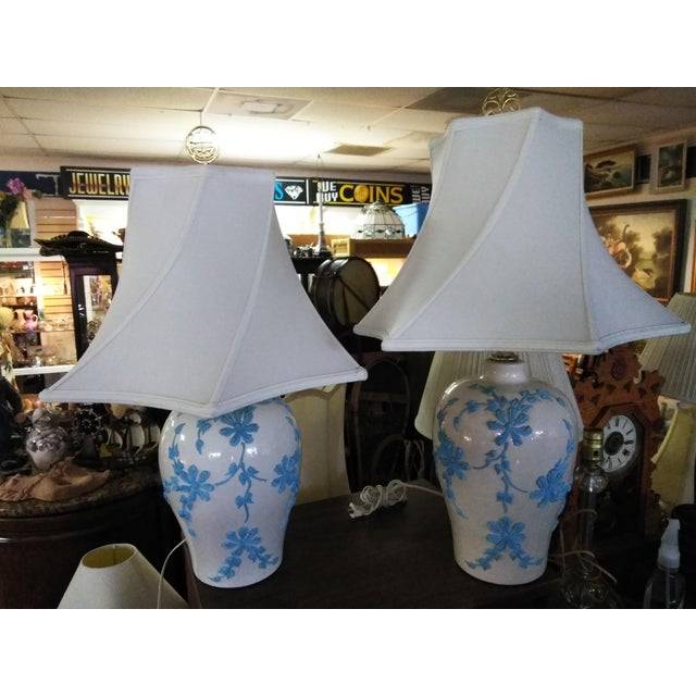 Metal Vintage Mid Century Japanese Decorative Lamps With Shades - a Pair For Sale - Image 7 of 10