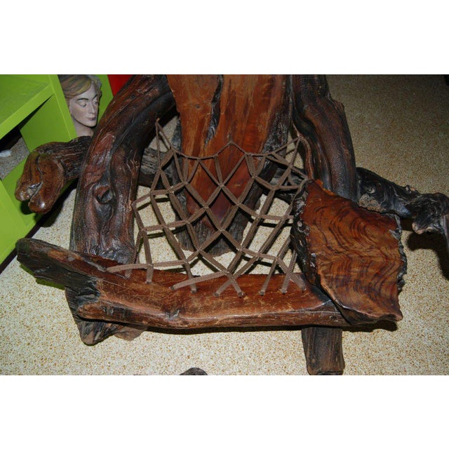Wonderful redwood chair with original ottoman. Chair retains original heavy rope seat. Great aged patina. The ottoman...
