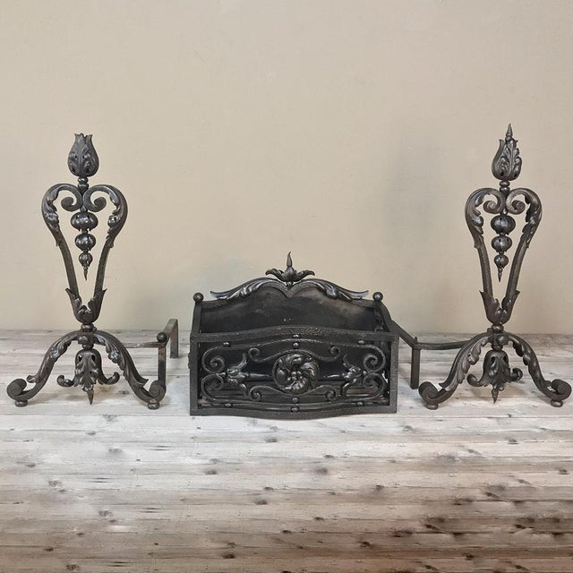 19th Century Wrought Iron Andiron & Firebox Set For Sale - Image 12 of 12