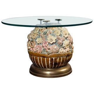 Hand Carved Wood Floral Ball Table by Sarreid Ltd For Sale