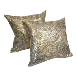 Glam Gold Pillow Pair For Sale