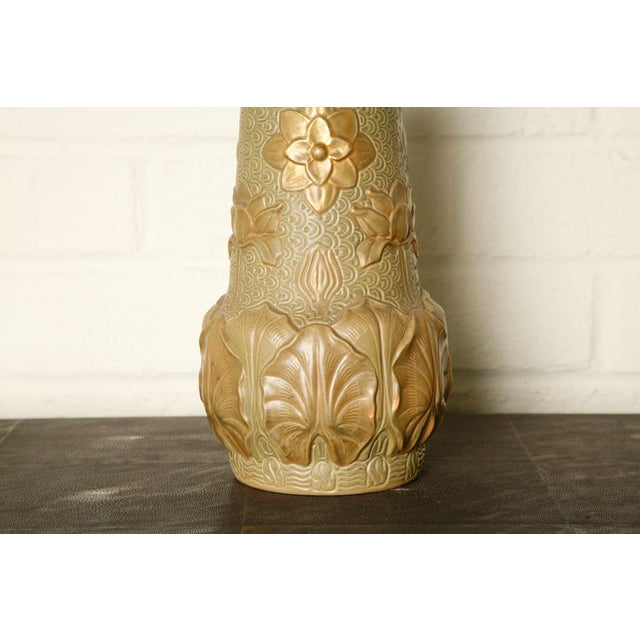 Hand painted Art Nouveau French vase circa 1910. Signed (unknown).