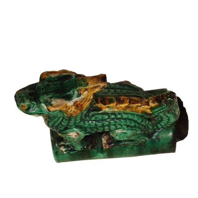 Vintage Chinese Glazed Ceramic Dragon Roof Tile For Sale In Los Angeles - Image 6 of 8
