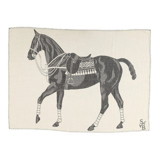 Stick & Ball Alpaca Polo Pony Charcoal Throw Blanket For Sale