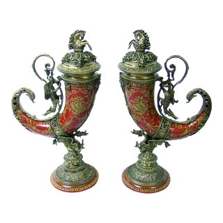 Pair of Austrian Style Brass and Enamel Cornucopia Urns For Sale
