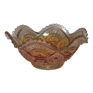Orange Scalloped and Ruffled Carnival Glass Bowl For Sale