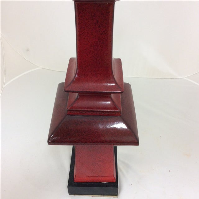 Chinese Sang De Boeuf Tall Pagoda Lamp - Image 2 of 8