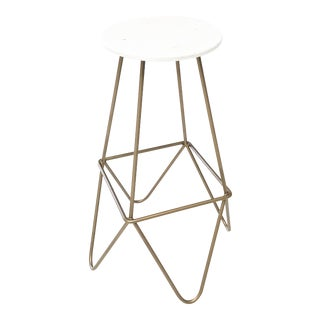 Eiffel Gold & White Lacquered Mid Century Modern Bar Stool