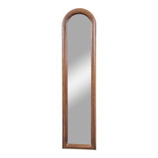 20th Century Traditional Solid Classic Walnut Arched Carved Wood Mirror For Sale