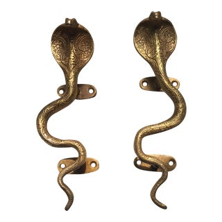 Stunning Hollywood Regency Gold Cobra Door Handles- a Pair