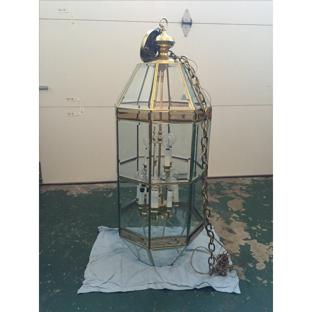 Antique Vintage Brass Lantern Chandelier - Image 2 of 4