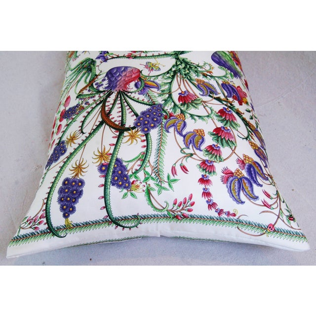 White Designer Italian Gucci Floral Fanni Silk Pillow For Sale - Image 8 of 11