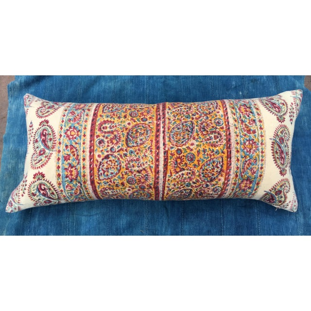Cotton 1970's Indian Hand-Blocked Textile Pillow For Sale - Image 7 of 7