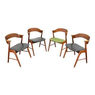 Set of Four Kai Kristiansen Model 32 Teak Dining Chairs For Sale