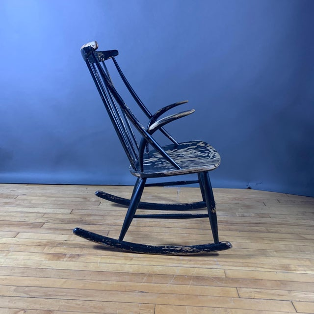 Mid-Century Modern Illum Wikkelsø Ebonized Rocking Chair, 1958 Denmark For Sale - Image 3 of 8