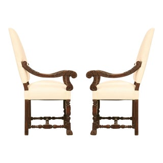 Hand-Carved French White Oak Throne Chairs - a pair For Sale