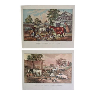 1950s American Farm Yard Currier & Ives Prints - A Pair For Sale