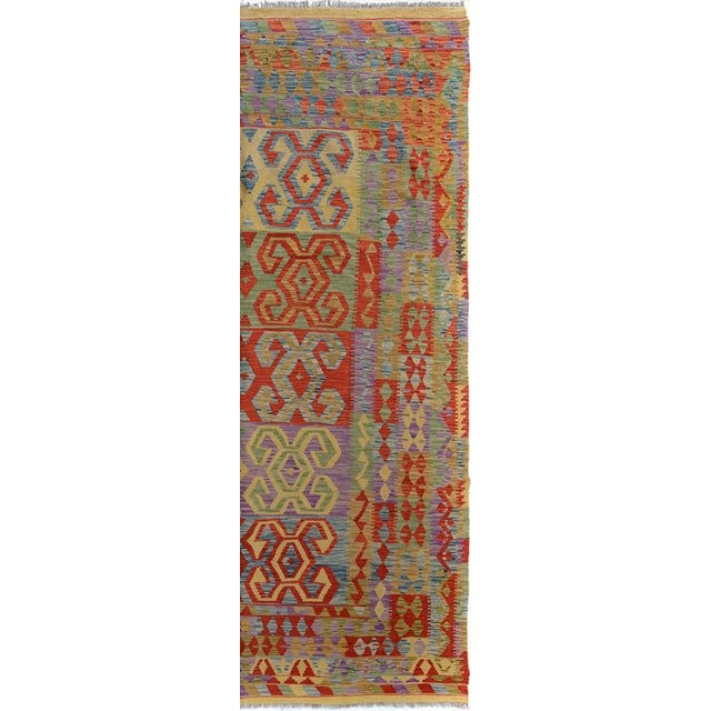 "Kilim Arya Jarrod Gold/Red Wool Rug - 6'5"" X 9'8"" A9288 For Sale In New York - Image 6 of 7"