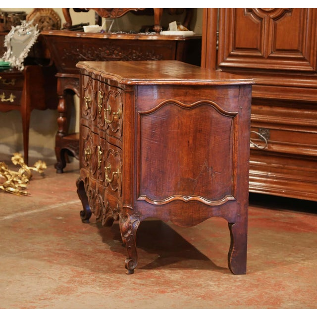 18th Century Louis XV Period Carved Walnut Two-Drawer Commode From Fourques For Sale In Dallas - Image 6 of 11