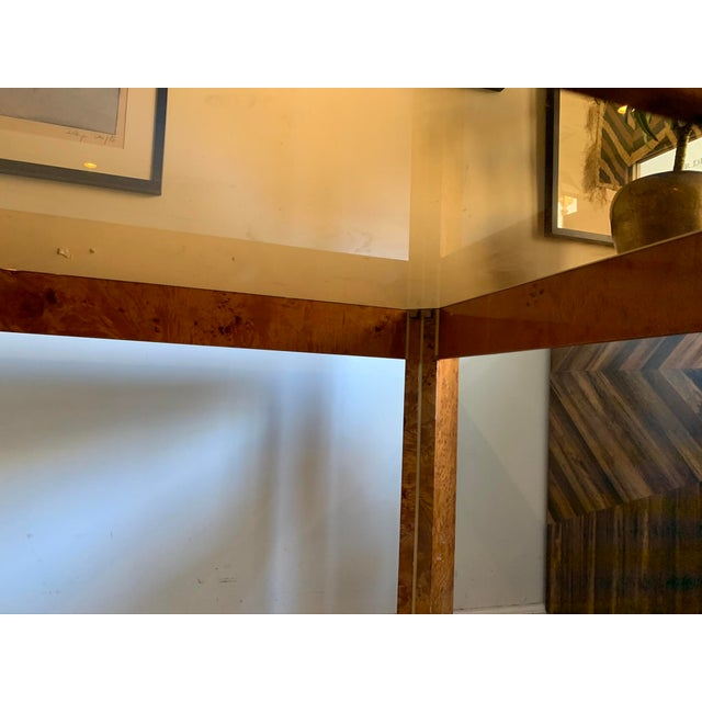 1970s Vintage Burlwood and Glass Dining Table For Sale - Image 9 of 13