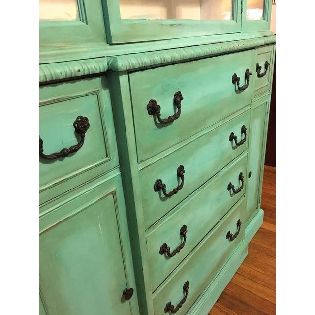 Vintage Green China Cabinet For Sale - Image 5 of 8