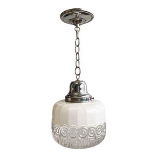 1950s Cast Glass Polished Nickel Kitchen Pendant Light For Sale